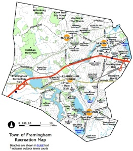 map of recreation opportunities in Framingham