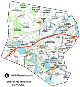 map showing all the schools in Framingham