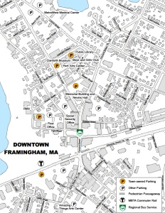 map showing parking options in downtown Framingham
