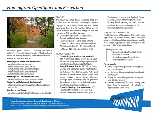 image of a Fact Sheet on the Framignham Recreation opportunities