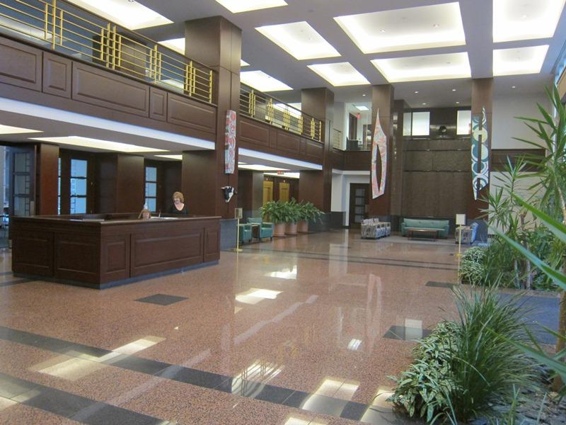 office building lobby - shiny floors and brown brick interior