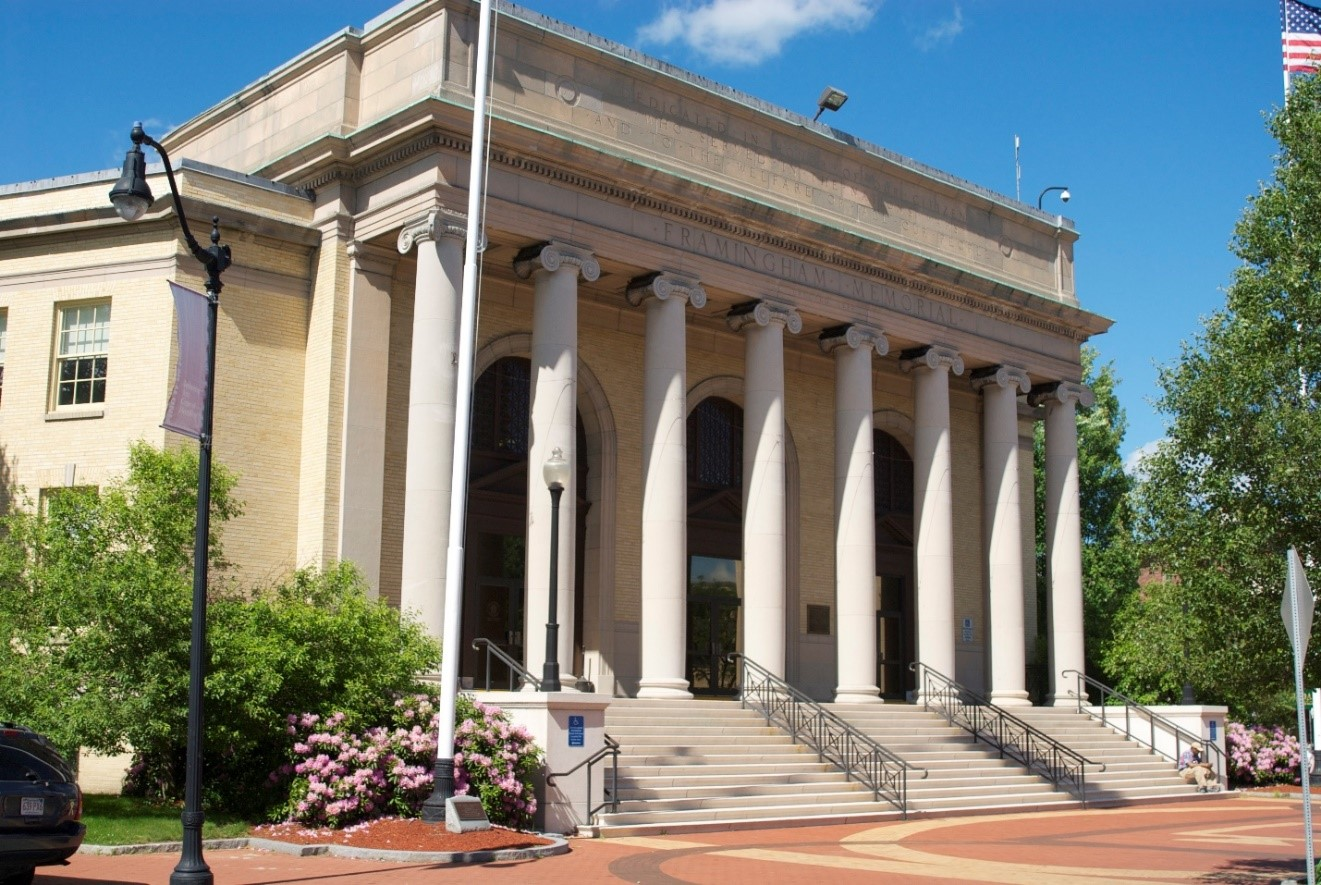 Memorial Building facade-yellow brick building with tall columns in front of a portico