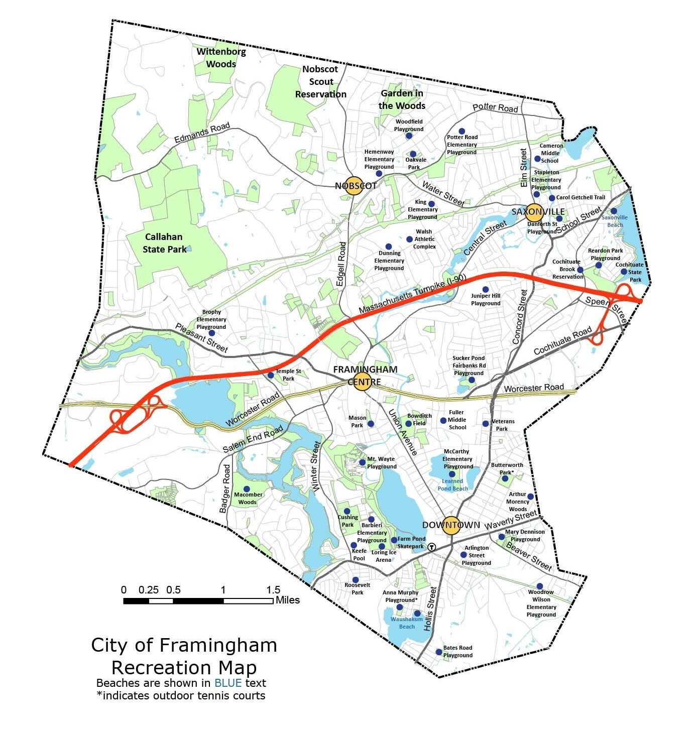 City of Framingham Recreation Map showing playgrounds around the city