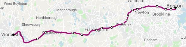 MBTA route map - Framingham-Worcester